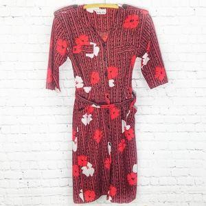 Vintage Black, Red & White Floral Dress Sally Lou